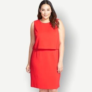Halogen Red Coral Layered Popover Dress Size 14